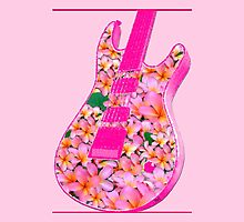 Guitar of Pink Flowers by amanda metalcat dodds