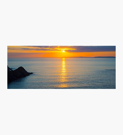 beautiful panoramic yellow sunset over loop head Photographic Print