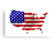 USA Flag Country Outline Canvas Print