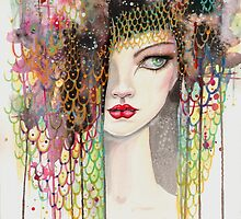 Secrets - Gypsy Woman - Modern Art Portrait - Fantasy Painting by Molly Harrison by Molly  Harrison