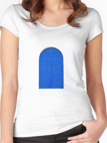 blue window Women's Fitted Scoop T-Shirt