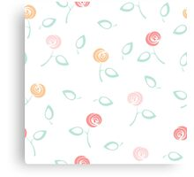 Seamless floral pattern on white Canvas Print