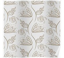 Seamless floral pattern on beige Poster