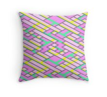 Geometric Lanes (Glam Pink/Yellow/Blue) Throw Pillow