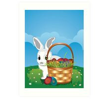 Easter Bunny with Eggs in the Basket 2 Art Print