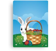 Easter Bunny with Eggs in the Basket 2 Canvas Print