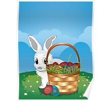 Easter Bunny with Eggs in the Basket 2 Poster