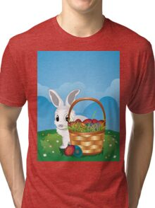 Easter Bunny with Eggs in the Basket 2 Tri-blend T-Shirt