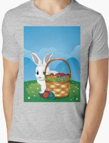 Easter Bunny with Eggs in the Basket 2 Mens V-Neck T-Shirt