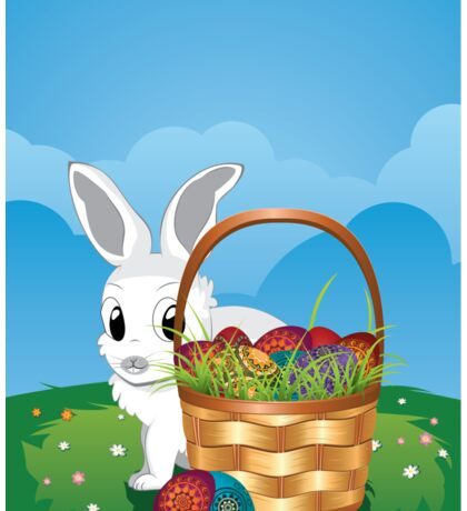 Easter Bunny with Eggs in the Basket 2 Sticker