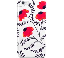 Beauty contrast simple seamless floral pattern swirl elements white iPhone Case/Skin