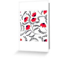 Beauty contrast simple seamless floral pattern swirl elements white Greeting Card