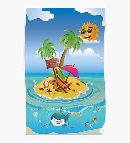 Shark and Tropic Island Poster