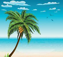 Summer beach and palm by AnnArtshock
