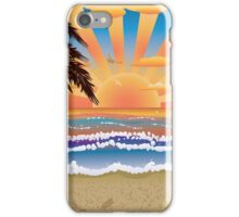 Sunset on beach  iPhone Case/Skin