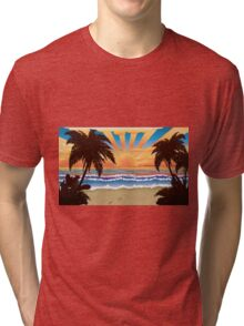 Sunset on beach  Tri-blend T-Shirt