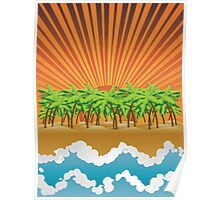 Sunset on tropical beach 3 Poster