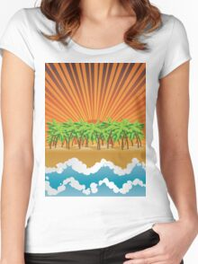 Sunset on tropical beach 3 Women's Fitted Scoop T-Shirt