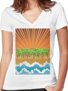 Sunset on tropical beach 3 Women's Fitted V-Neck T-Shirt
