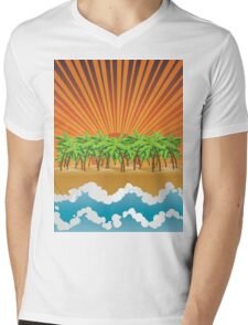 Sunset on tropical beach 3 Mens V-Neck T-Shirt