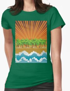 Sunset on tropical beach 3 Womens Fitted T-Shirt