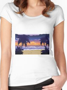 Sunset on beach 2 Women's Fitted Scoop T-Shirt