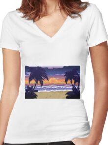 Sunset on beach 2 Women's Fitted V-Neck T-Shirt