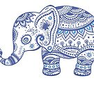 Cute Navy Blue Retro Floral Lephant by artonwear
