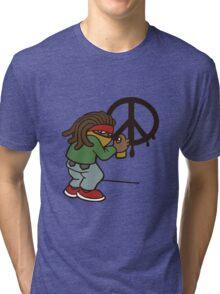 cartoon rasta reggae peace and love Tri-blend T-Shirt