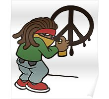 cartoon rasta reggae peace and love Poster