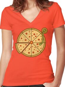 Pizza Vinyl Women's Fitted V-Neck T-Shirt