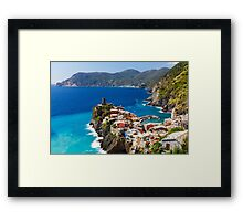 Cinque Terre Town on a Rock Framed Print