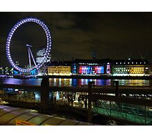 London Eye At Night Photographic Print