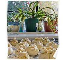 a tray of wontons waiting to be cooked Poster