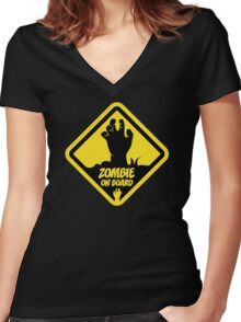 Zombie On Board Warning Sign Women's Fitted V-Neck T-Shirt