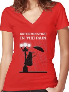 MusiKill in the Rain Women's Fitted V-Neck T-Shirt
