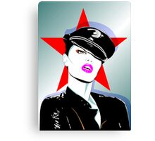 Girl In A Leather Cap Canvas Print