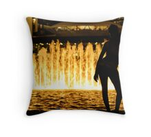 Relaxing by The Fountain Throw Pillow
