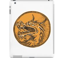 Chinese Dragon Head Circle Etching iPad Case/Skin