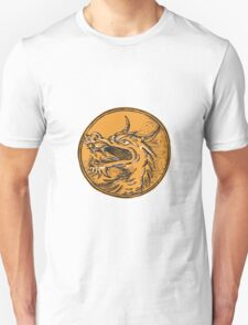 Chinese Dragon Head Circle Etching T-Shirt
