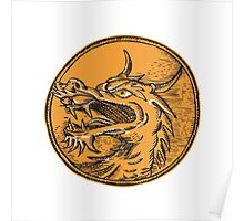 Chinese Dragon Head Circle Etching Poster