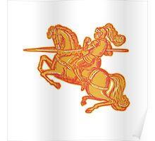 Knight Full Armor Horseback Lance Etching Poster