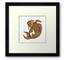 Koi Nishikigoi Carp Fish Jumping Etching Framed Print