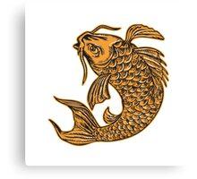 Koi Nishikigoi Carp Fish Jumping Etching Canvas Print