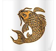 Koi Nishikigoi Carp Fish Jumping Etching Poster