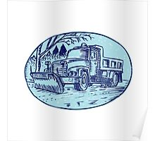 Snow Plow Truck Oval Etching Poster