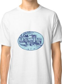 Snow Plow Truck Oval Etching Classic T-Shirt