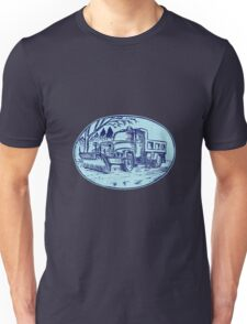 Snow Plow Truck Oval Etching Unisex T-Shirt