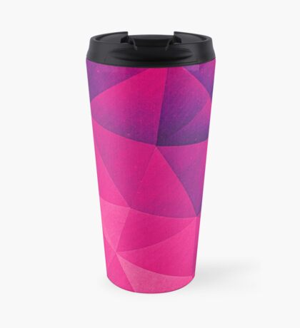 Abstract Polygon Multi Color Cubizm Painting in deep pink/purple  Travel Mug