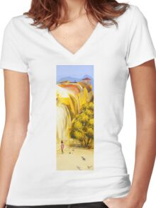 On her way Women's Fitted V-Neck T-Shirt